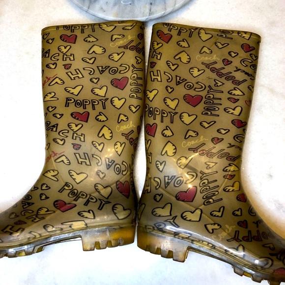 Coach Poppy Hearts Rain Boots Size 8